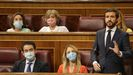 Pablo Casado, ayer en su escaño en el Congreso interviene en la sesion de control al Gobierno