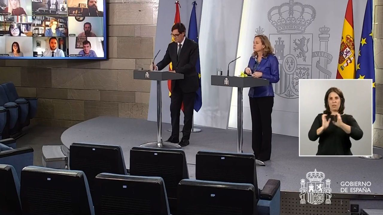Rueda de prensa telemática de Salvador Illa y de Nadia Calviño.El presidente de la Xunta, Alberto Núñez Feijoo, durante la videoconferencia con el presidente del Gobierno, Pedro Sánchez