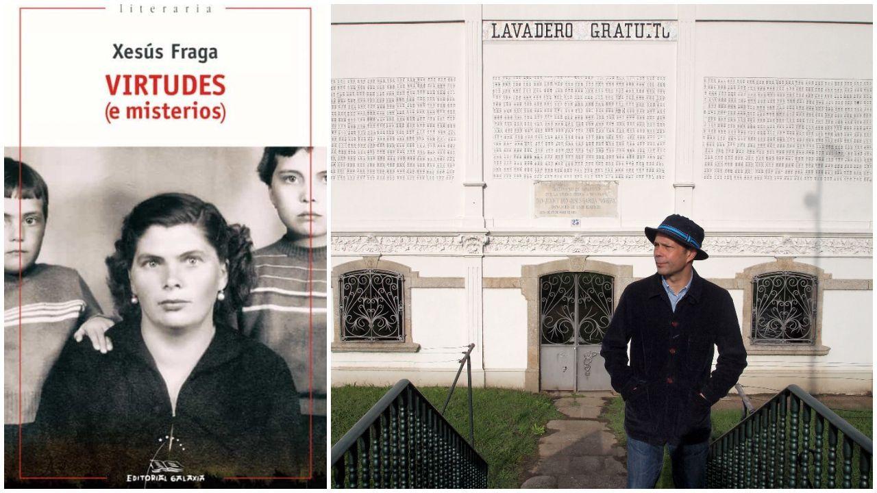 O escritor Xesús Fraga coa cuberta da novela que acadou o premio nacional.