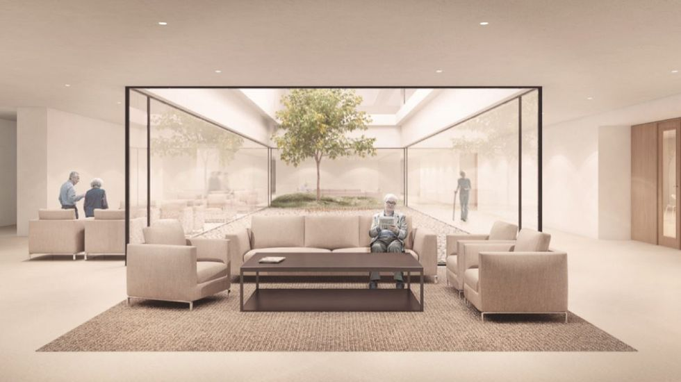 Recreación de una zona de estancia del modelo de residencias que proyecta la Fundación Amancio Ortega.