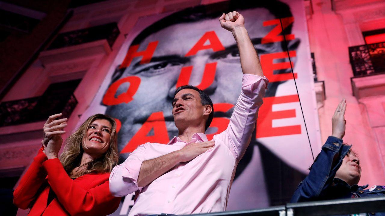 Pedro Sánchez: «Hemos ganado y vamos a gobernar España».El presidente del Gobierno, Pedro Sánchez, en el mitin de Gijón