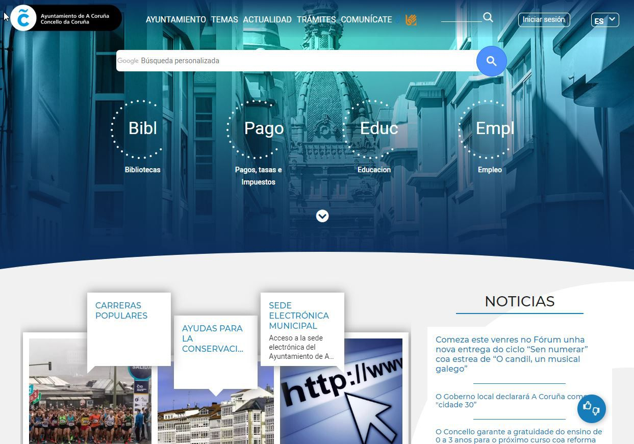 La nueva web del Ayuntamiento de A Coruña