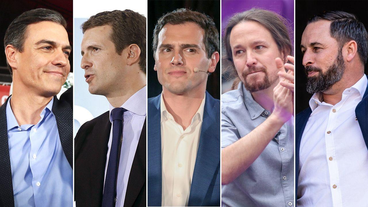 Rajoy juega en casa:las imágenes de su mitin en Pontevedra.Los cinco candidatos