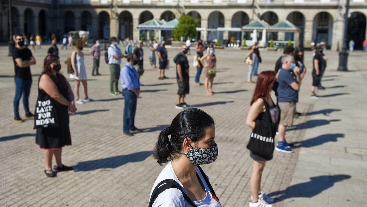 Imagen de una de las protestas de los hosteleros en María Pita