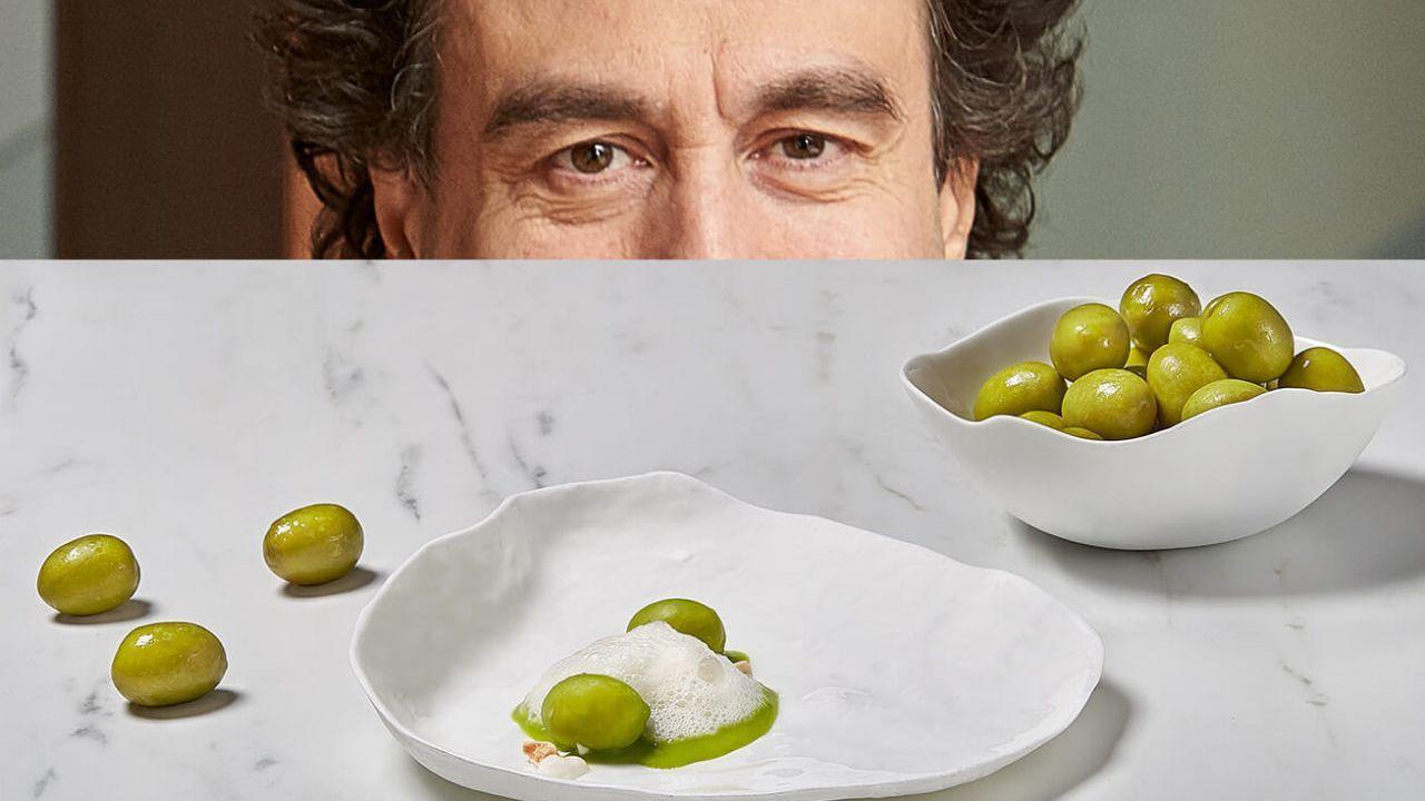 Pepe Rodríguez. Gazpacho de aceituna Cacereña, sopa de hierbas y almendras. El mediático chef mezcla el gazpacho con un ajoblanco y otras elaboraciones con raíces castellanas.