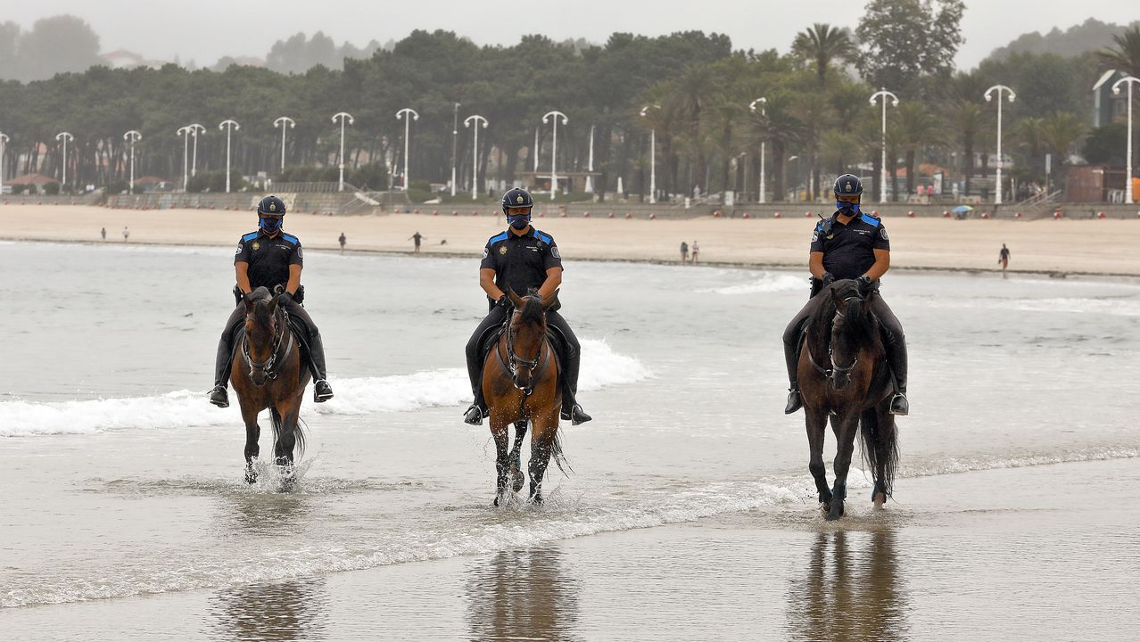 A caballo en la playa para perros.Un hombre camina por la playa de San Lorenzo de Gijón, que en un día nublado