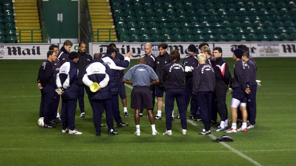 Entrenando en el campo del Celtic de Glasgow en el 2002