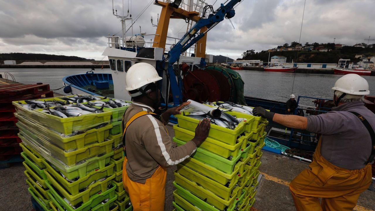 Tripulantes de un arrastrero de litoral con base en Celeiro, trabajando el 17 de marzo, al inicio del estado de alarma por la pandemia