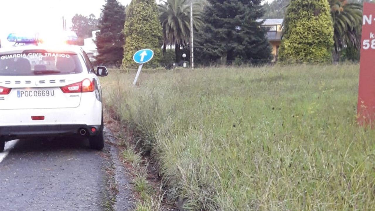 La Guardia Civil comprobó que había daños en la señalización de la carretera