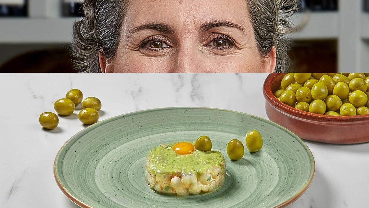 Pepa Muñoz. Pesto de aceituna Manzanilla con tartar de gamba blanca y yema de huevo de codorniz  Aparente sencillez como en su restaurante Qüenco de Pepa de Madrid.