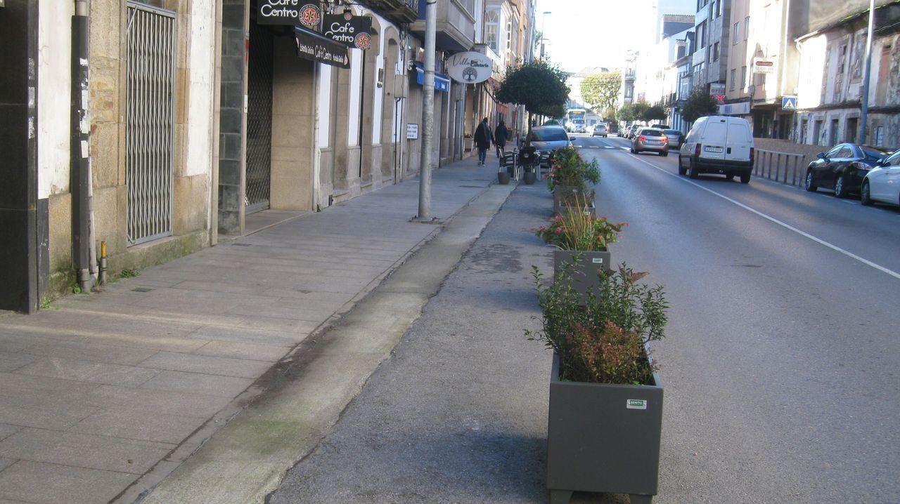 Aspecto de la rúa da Pravia en la mañana de este sábado