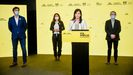Sergi Sabrià, Laura Vilagrà, Marta Vilalta y Josep Maria Jové (ERC) en rueda de prensa telemática