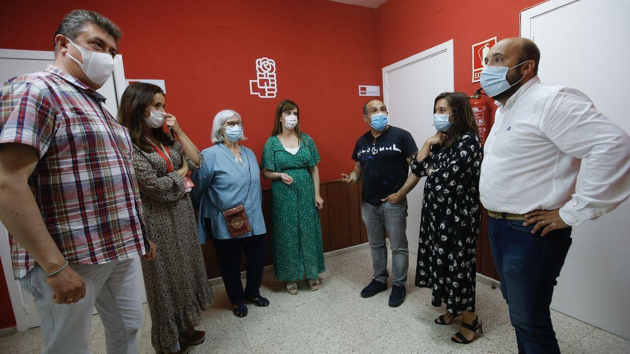 Inés Rey y concejales de A Coruña en la noche de las elecciones autonómicas 2020