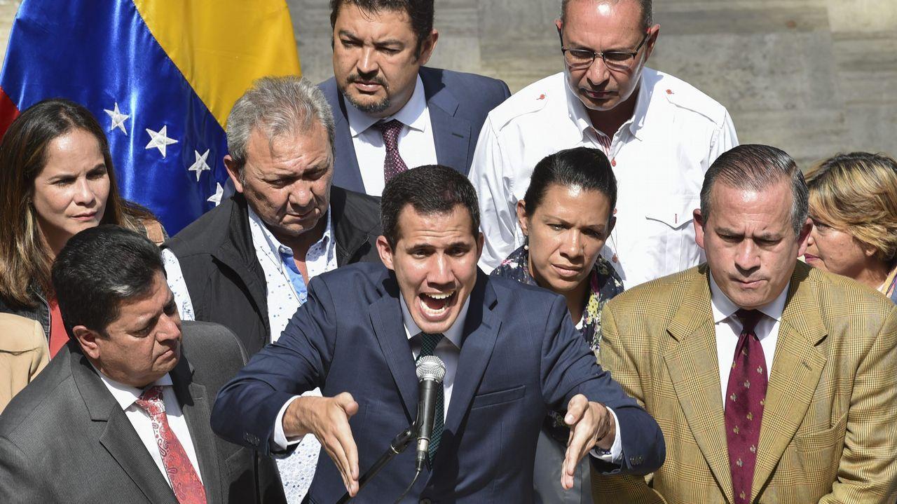 El líder opositor Juan Guaidó, durante su comparecencia en la Asamblea Nacional