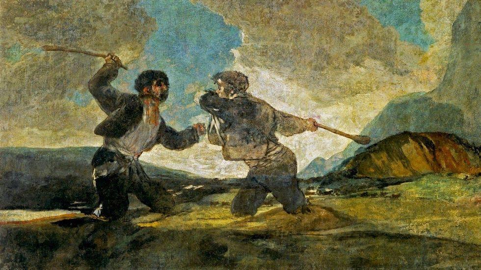 Duelo a garrotazos  (1823). Francisco de Goya. Museo Nacional del Prado