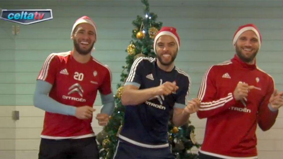 Sergi, Sergio y Planas, en el vídeo navideño del Celta del año pasado