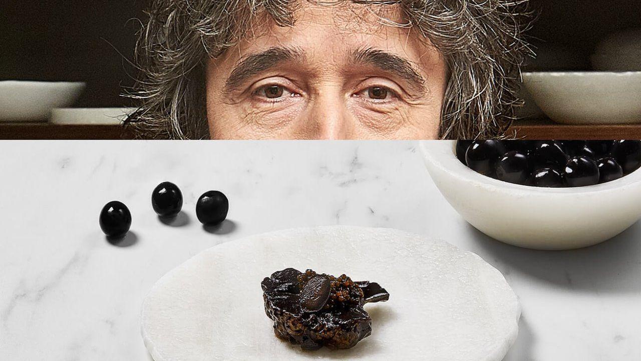 Diego Guerrero. Aceituna negra y coliflor. Con un praliné de aceituna, caviar y coliflor, Diego nos deleita con esta composición.