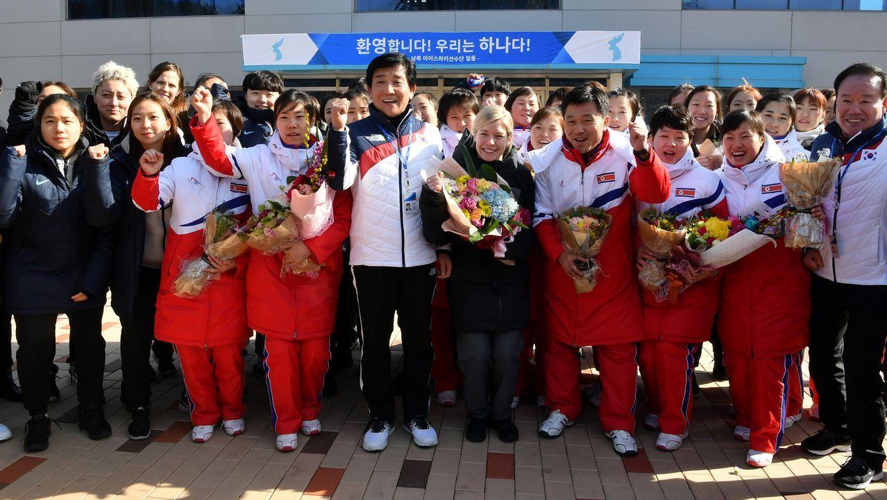 Ceremonia inauguración Juegos Olímpicos de Invierno 2018.Equipo norcoreano de Hockey