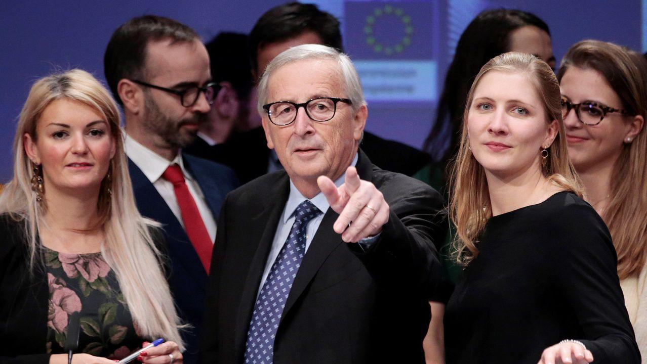 Jean Claude-Juncker, en su última comparecencia como presidente de la Comisión Europea en la abarrotada sala de prensa del edificio Berlaymont, la sede del Ejecutivo de Bruselas