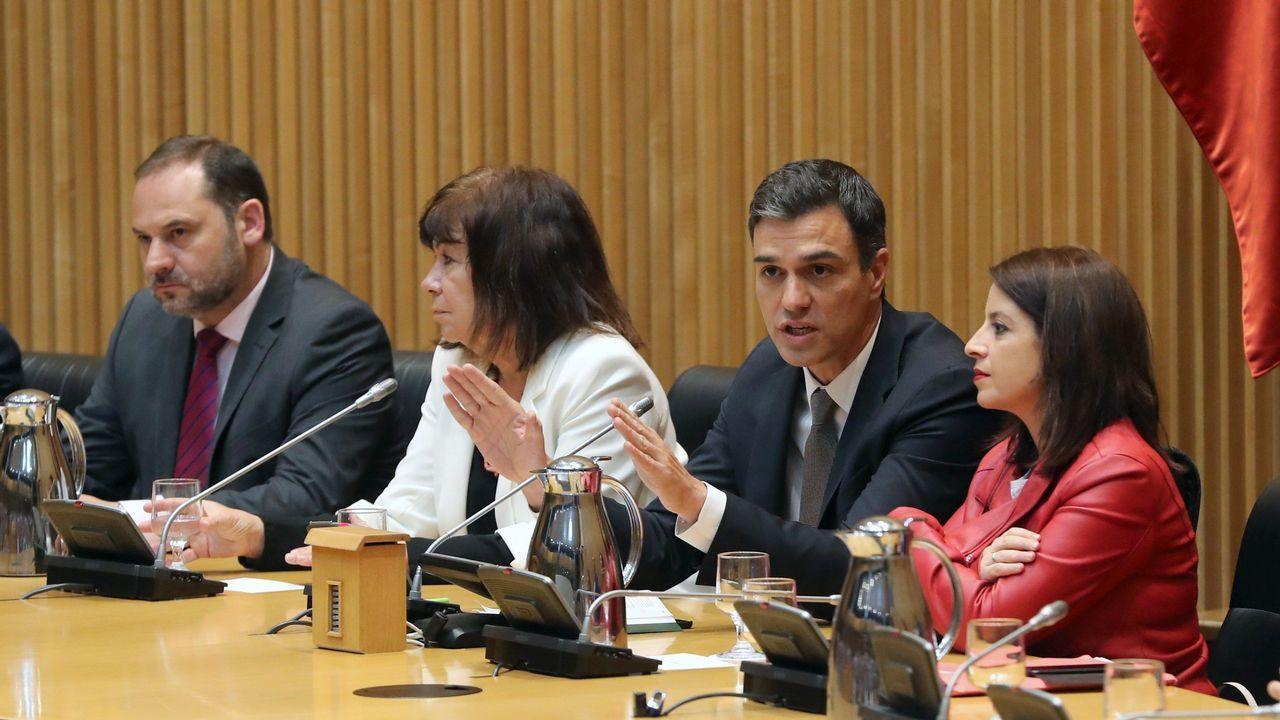 De izquierda a derecha, Ábalos, Narbona, Sánchez y Lastra