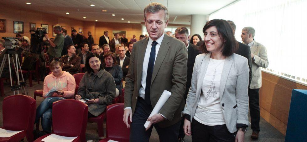 El alcalde de Morcín, Jesús Álvarez Barbao.El vicepresidente y la conselleira de Medio Rural presentaron el Leader en la Semana Verde.