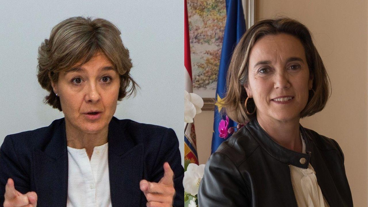 Gritos de fuera y aplausos para recibir en el hemiciclo a los políticos presos.Isabel García Tejerina y Cuca Gamarra en sendas imágenes de archivo