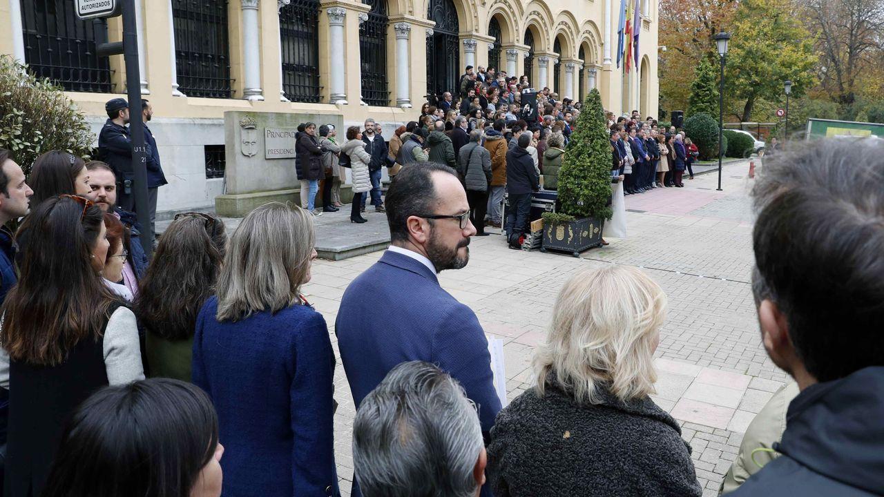 El Big Data de la movilidad en Asturias. Los grupos parlamentarios de PSOE, PP, Ciudadanos, Podemos, IU y Foro han mostrado este miércoles su  compromiso  con la erradicación de la violencia machista a través de una declaración que no ha podido ser leída en la cámara ante el rechazo de Vox. Mientras se procedía a la lectura del documento en la escalinata de la sede de Presidencia, en un acto que ha congregado a decenas de representantes públicos, los dos diputados de Vox han permanecido, junto a otros miembros de la formación, en unos de los laterales del edificio institucional, en la imagen, en primer plano.