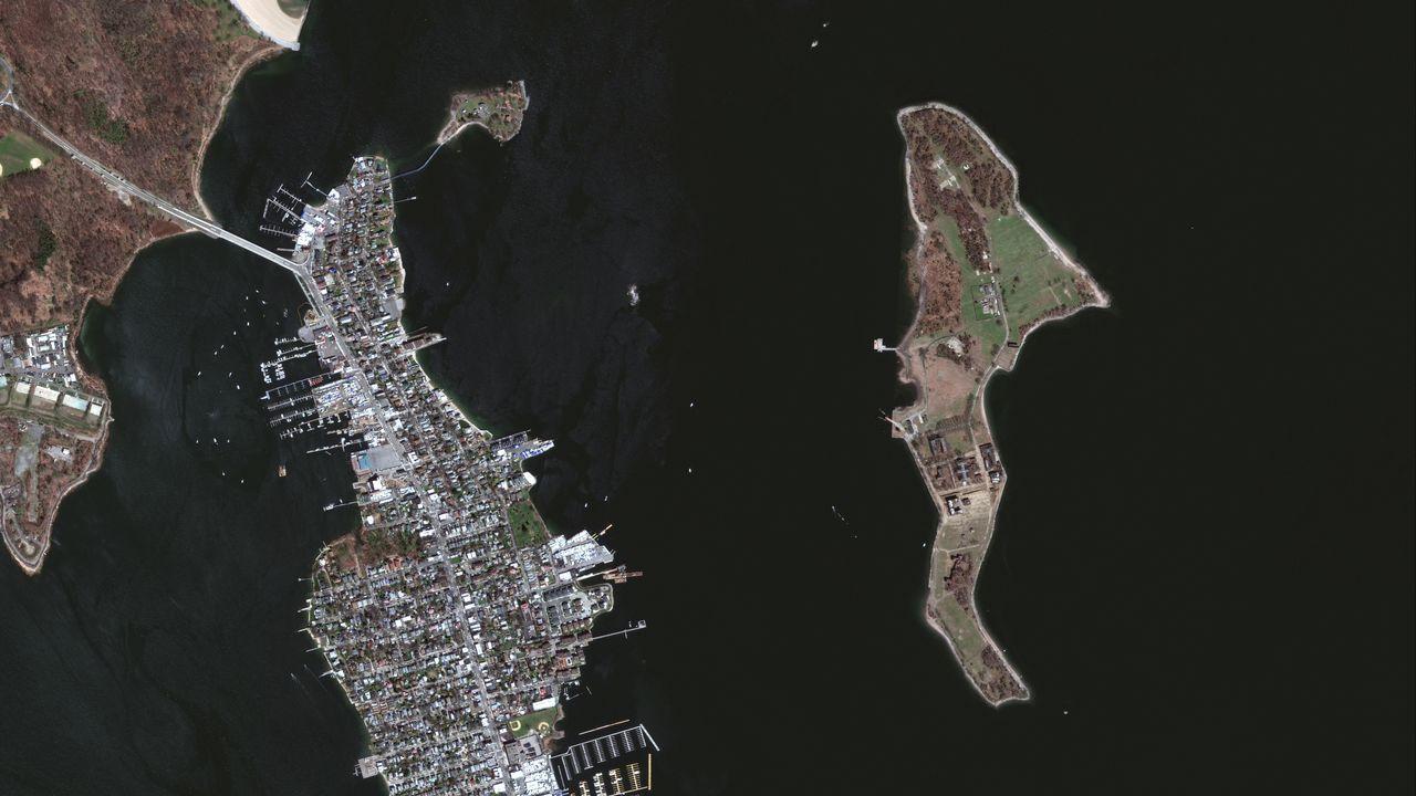 La isla de Hart vista a través de un satélite
