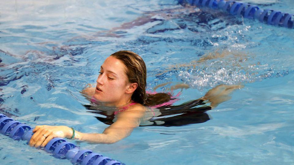 La joven, practicando durante un entrenamiento de las pasadas Navidades en A Fieiteira.