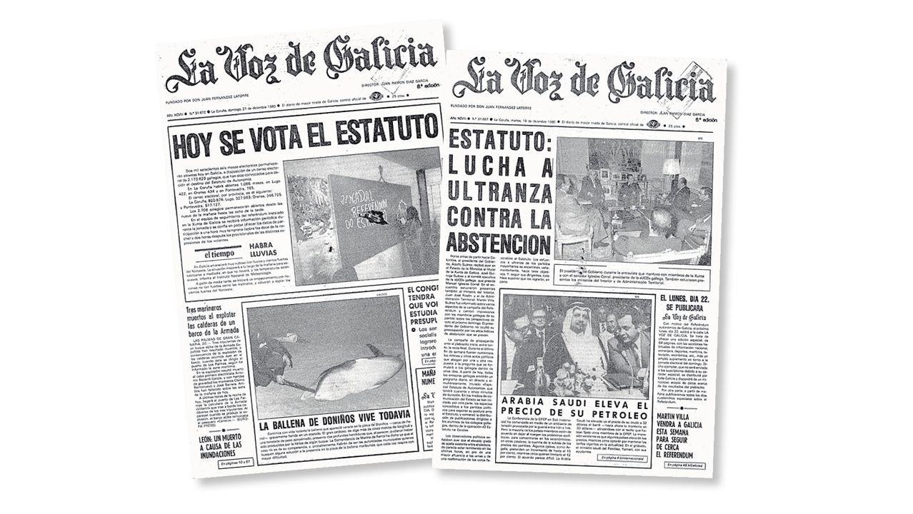 Portadas de La Voz. Las noticias previas al referendo publicadas por La Voz ya reflejaban que el plebiscito era una lucha contra la apatía y la abstención.
