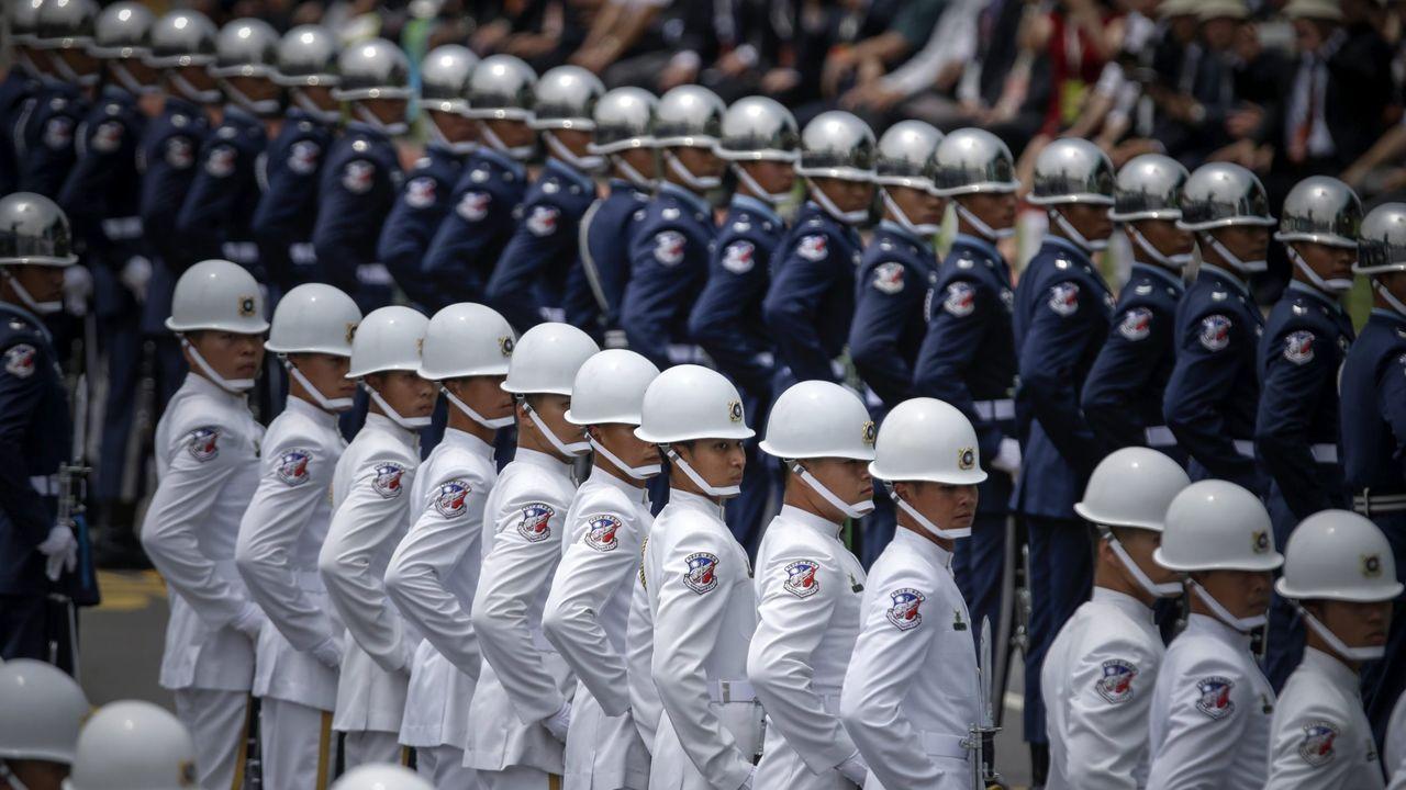 Parada en un acto oficial de la guardia de honor del Ejército de Taiwán.