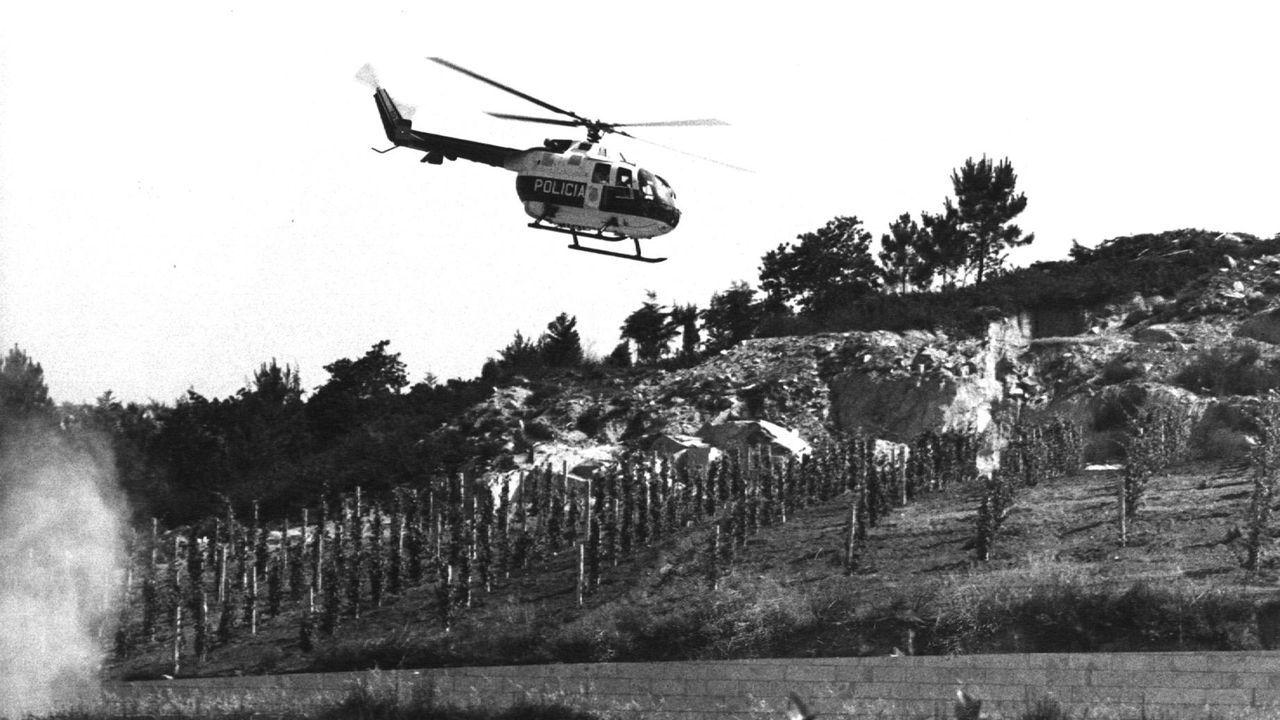 Un helicóptero de la policía sobrevuela los viñedos del pazo Baión durante la operación Nécora