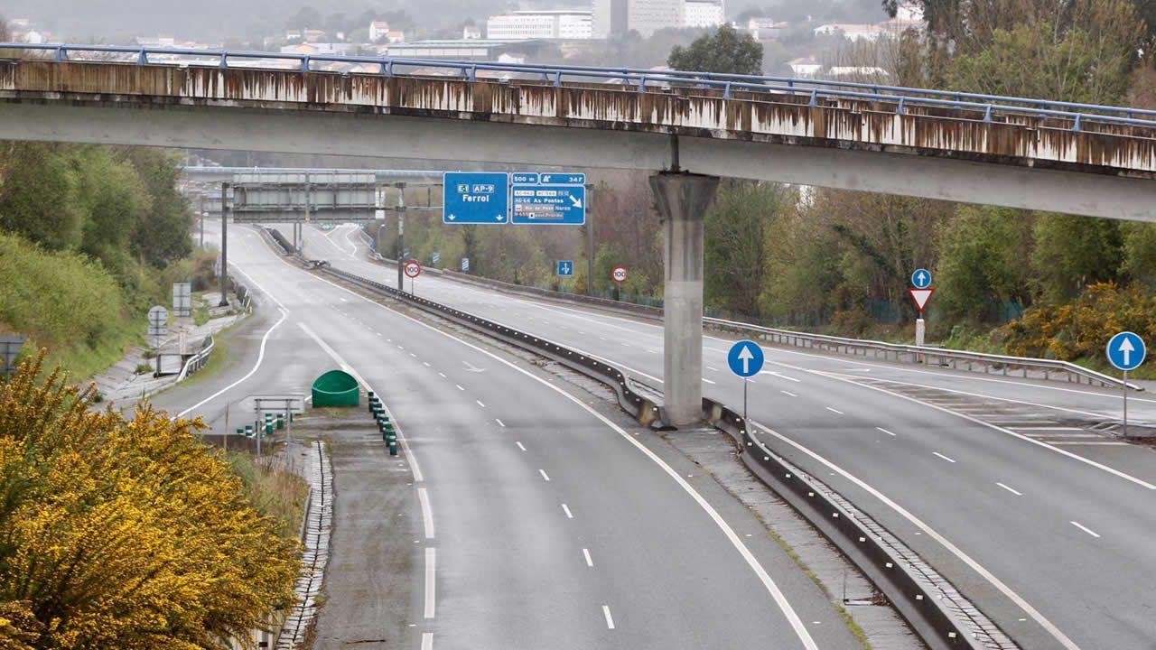 Declaración de un perito judicial en el caso del accidente del Marisquiño.Autopista AP-9 en Narón en marzo de este año: ni un solo vehículo circulando