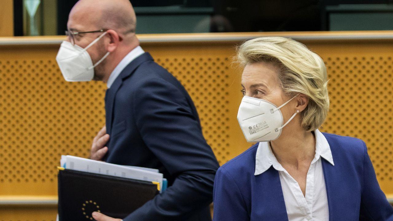 Michel y Von der Leyen, en la reunión con los eurodiputados