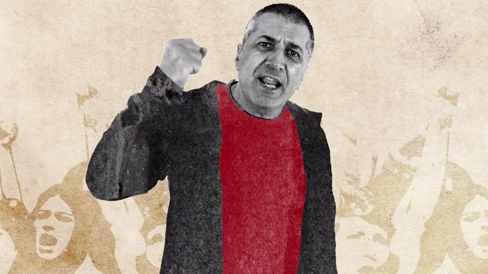 La campaña electoral también se apunta a la fiesta del 2 de mayo.Xune Elipe, en un momento del último videoclip de Dixebra, «Sigue'l tren»