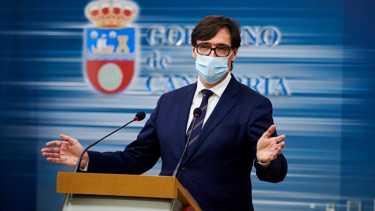 Salvador Illa en la rueda de prensa que ofreció en Santander