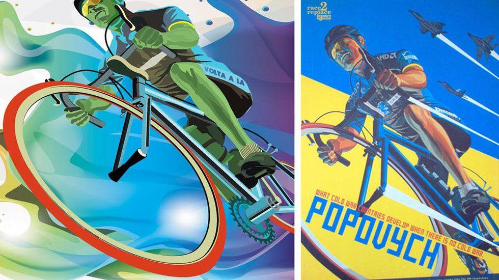 A la izquierda el diseño de Marinas. A la derecha el cartel original