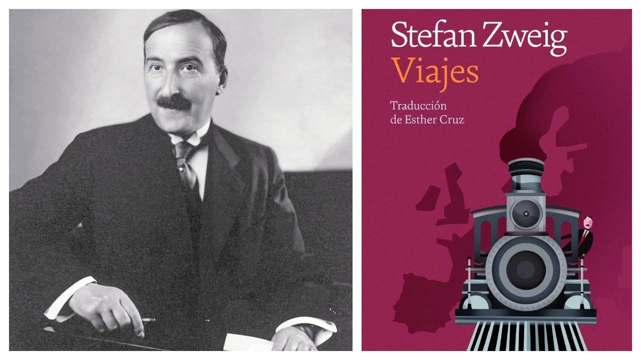 Stefan Zweig (Viena, 1881-Petrópolis, Brasil, 1942). A la derecha, la edición de una selección de sus crónicas de viajes