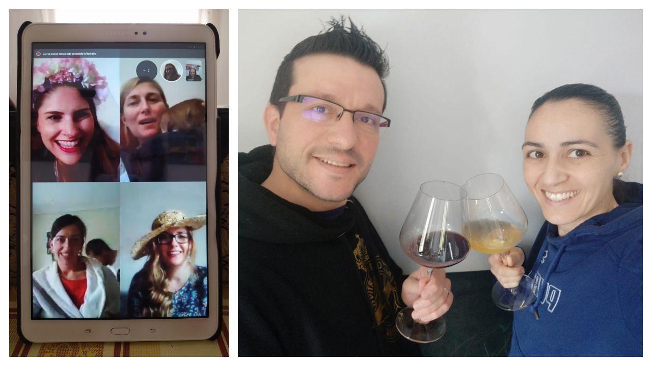 Invitadas a la boda interviniendo por videoconferencia a través de una tableta; una pareja asistente, en pleno brindis desde su propio domicilio