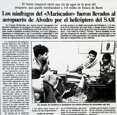 Fuerte temporal en el mar en Galicia.La Voz publicó la crónica del rescate el 15 de diciembre de 1989.