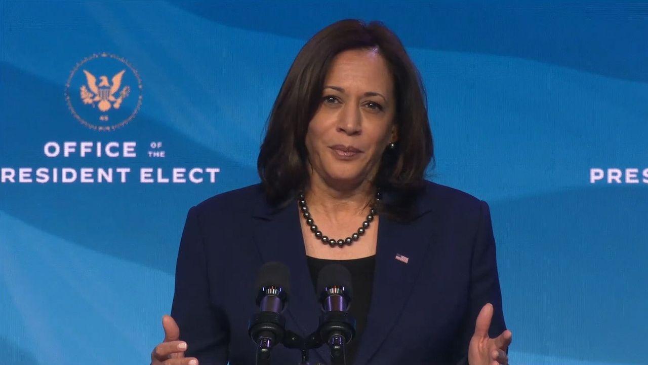 La vicepresidenta electa de Estados Unidos, Kamala Harris, el pasado 7 de enero, en Delaware