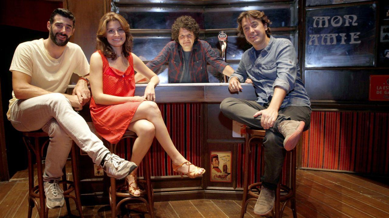 David Amor junto a Ledicia Sola, Xosé Antonio Touriñán y Javier Veiga