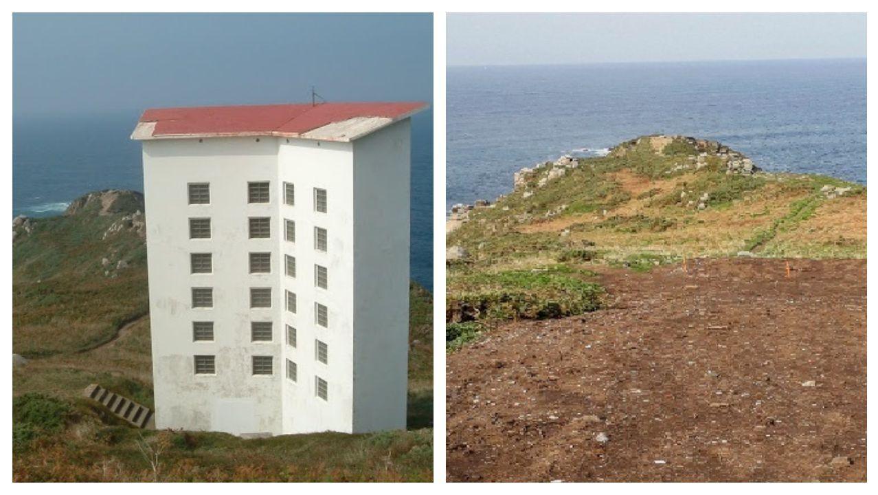 Detalle del antes y el después de la demolición de la torre de señales acústicas que, en otro tiempo, guiaba el tráfico marítimo cuando la niebla mermaba la eficacia de la luz del faro de Bares