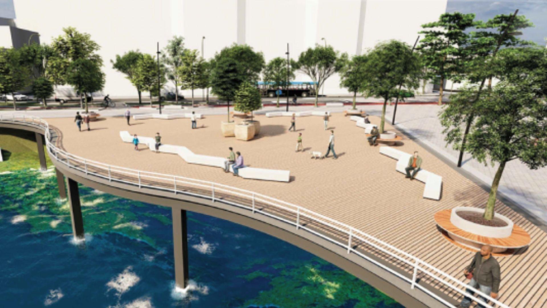 Los diseños para la nueva carade Cimavilla a Poniente.Paseantes por la nueva zona peatonal habilitada de manera provisional en la calzada del Muro de San Lorenzo