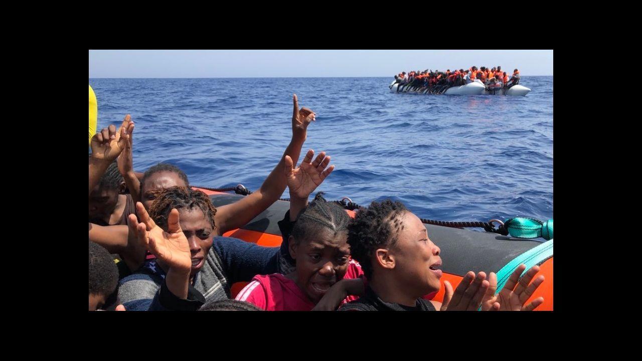 Gallegos en Venezuela.Migrantes que foron rescatados pola oenegué Open Arms preto da costa libia