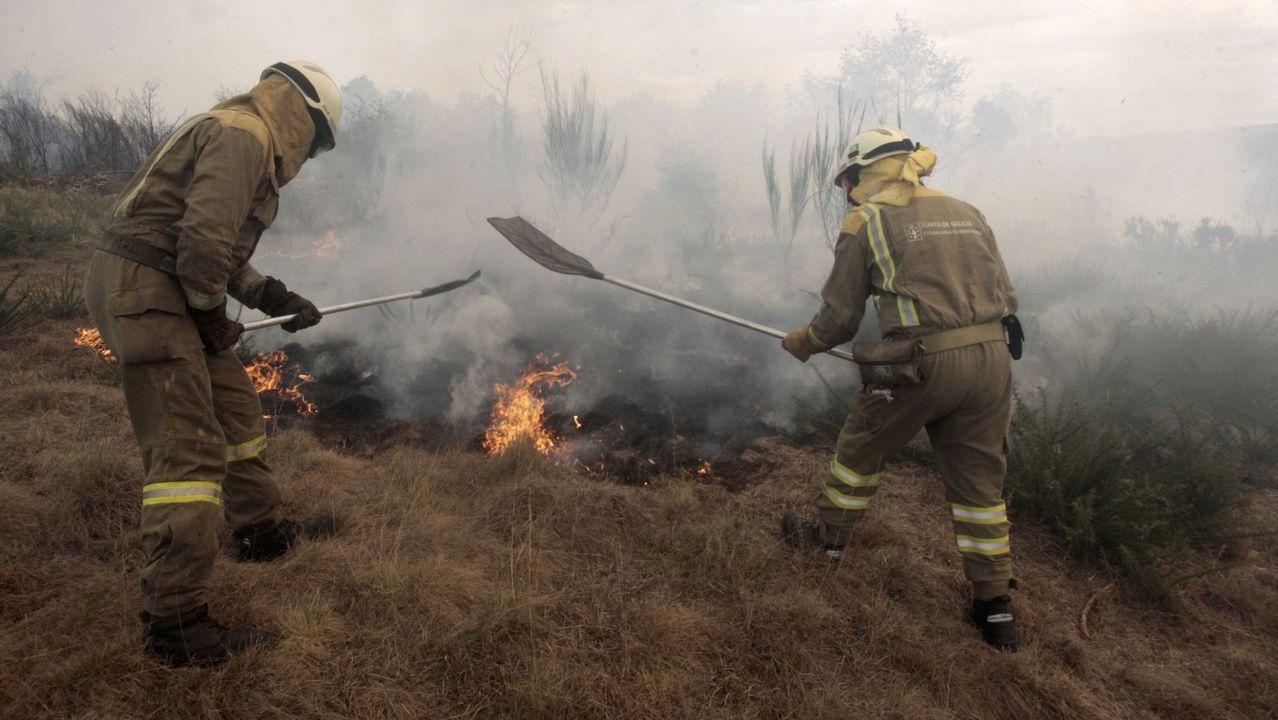 La lucha contra el fuego.Brigadistas trabajando en la extinción de un incendio forestal en una foto de archivo
