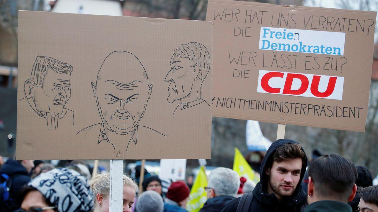 La maniobra política apoyada por AfD en Turingia fue contestada en varias ciudades alemanas