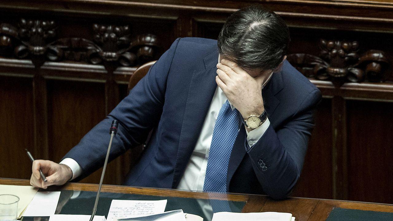El primer ministro italiano, Giuseppe Conte, este lunes, en la Cámara Baja