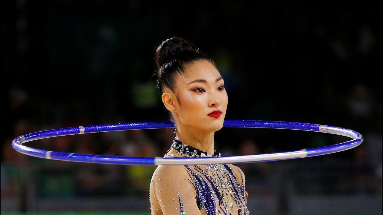 La australiana Enid Sung, durante uno de sus ejercicios en los Juegos de la Commonwealth