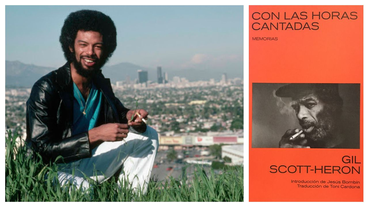 El músico y poeta Gil Scott-Heron y la portada de la edición de sus memorias que publica Libros del Kultrum